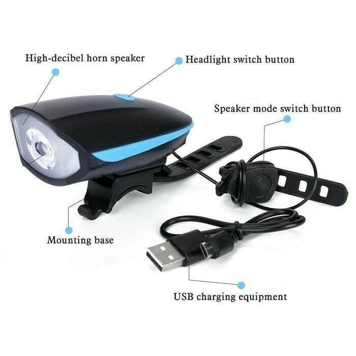 harga Lampu sepeda depan + senter ( dilengkapi ) bel sepeda (charger usb) Tokopedia.com