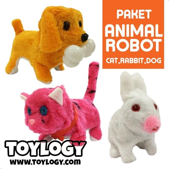 Paket Mainan Anak Animal Robot Doll Kucing Kelinci Anjing