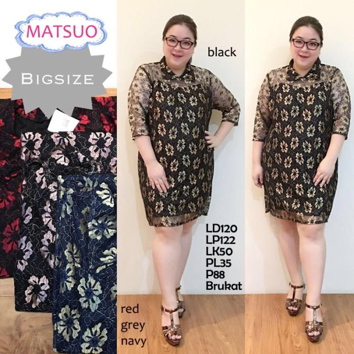 harga Matsuo dress brukat  jumbo bigsize baju atasan wanita jumbo brokat Tokopedia.com