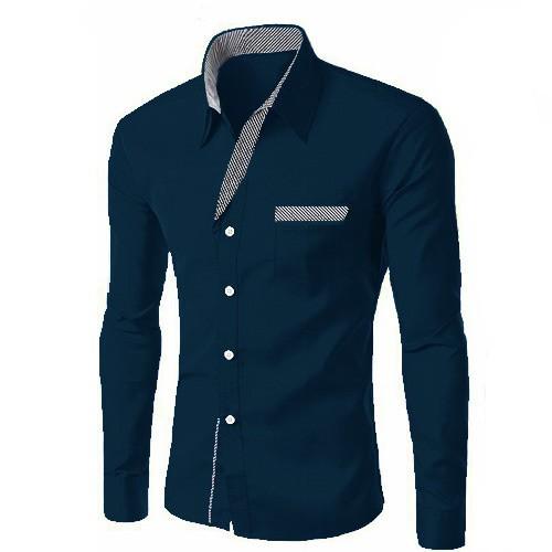 harga Kemeja pria casual slim fit murah warna navy - jerico Tokopedia.com