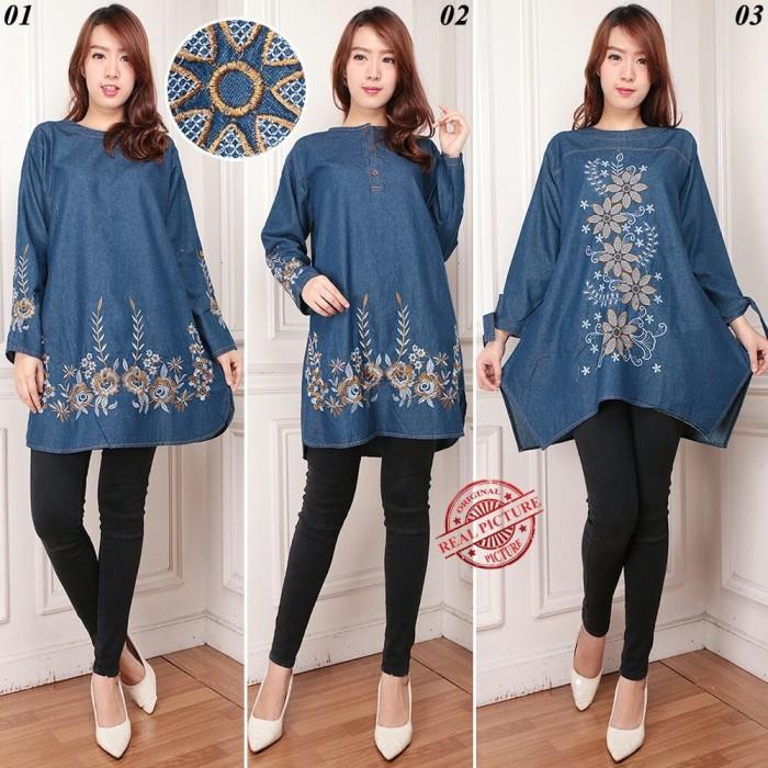 harga Sb collection atasan blouse delisa kemeja tunik jeans jumbo wanita Tokopedia.com