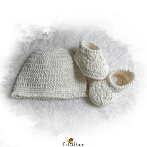 sepatu rajut bayi 12 - set sepatu dan topi crochet (PO) - 0-3 Bulan