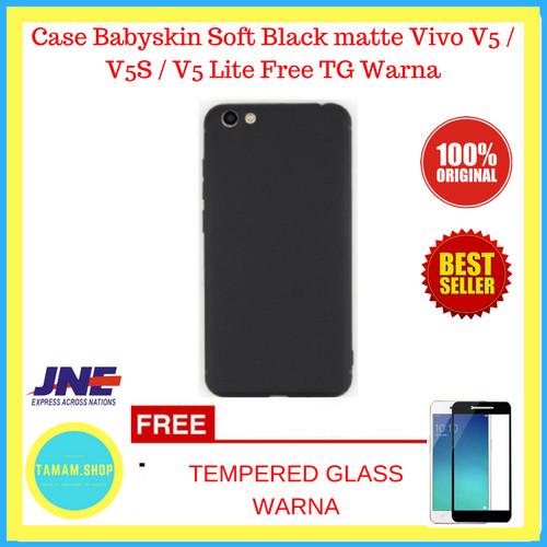 Foto Produk Case Babyskin Soft Black matte Vivo V5 / V5S / V5 Lite Free TG Warna dari Tamam.Shop
