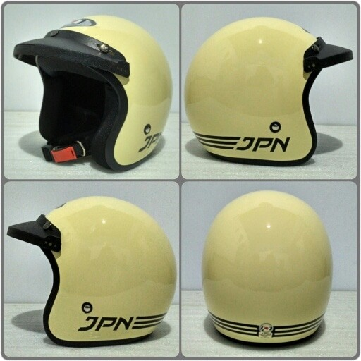 harga Helm retro jpn arc cream glossy + pet topi Tokopedia.com