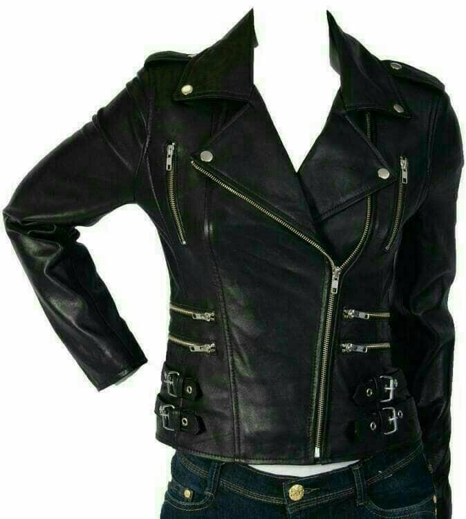 Jaket Semi Kulit Sintetis Wanita Casual Ladies Trendy Club Motor Biker b24f7a8a9a