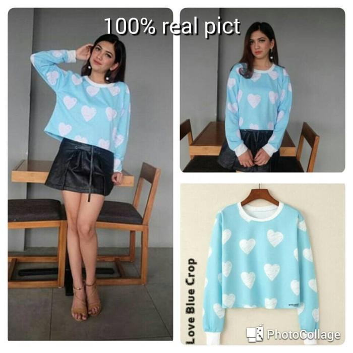 atasan wanita sweater crop top full print love blue shirt kaos - Biru Muda, S