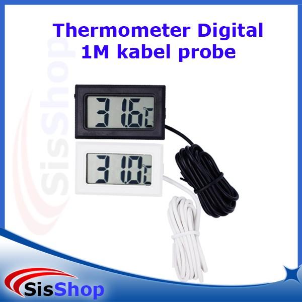 Thermometer Digital 1M+Kabel Sensor Waterproof Probe Termometer Suhu - Hitam