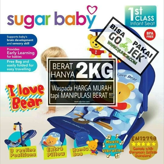 harga Sugar baby - infant seat i love bear musik + getar / bouncer mini Tokopedia.com