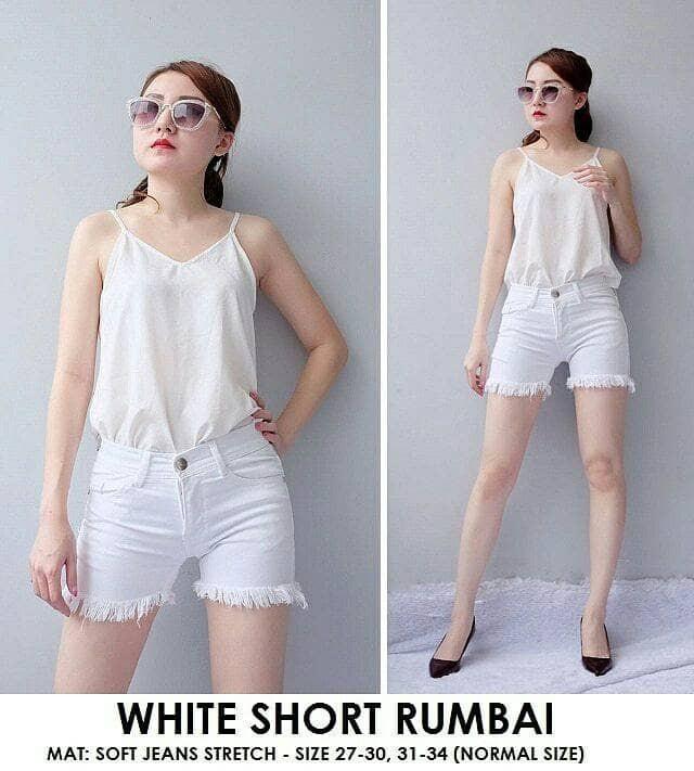 harga Celana pendek jeans wanita white short rumbai hot pants hotpants murah Tokopedia.com