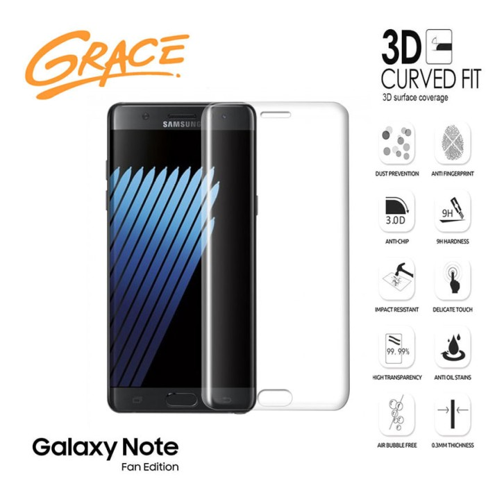 harga Grace samsung galaxy note fe / fan edition -3d tempered glass - clear Tokopedia.com