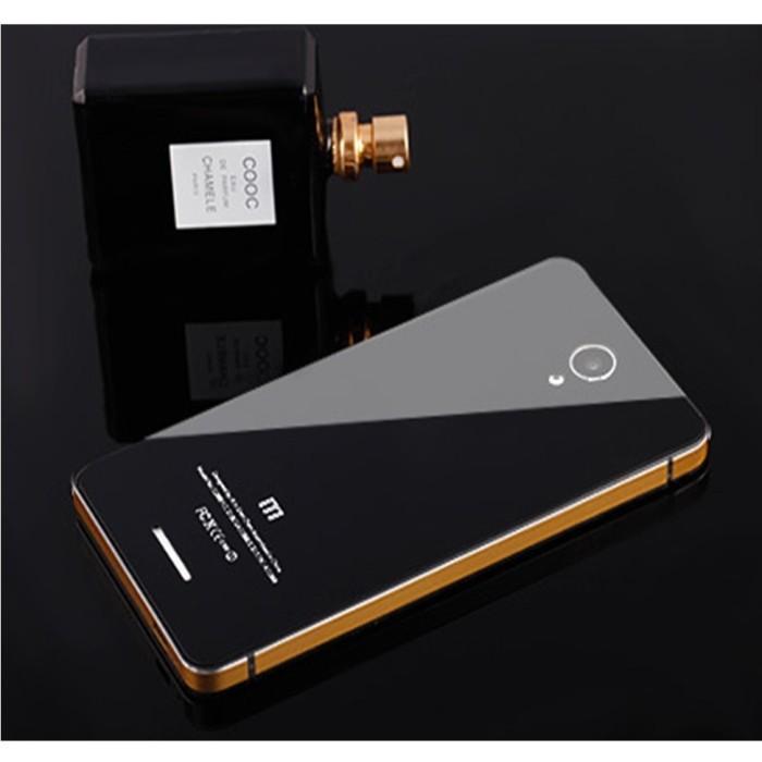 Aluminium Tempered Glass Hard Case for Xiaomi Redmi Note 2 - Biru .