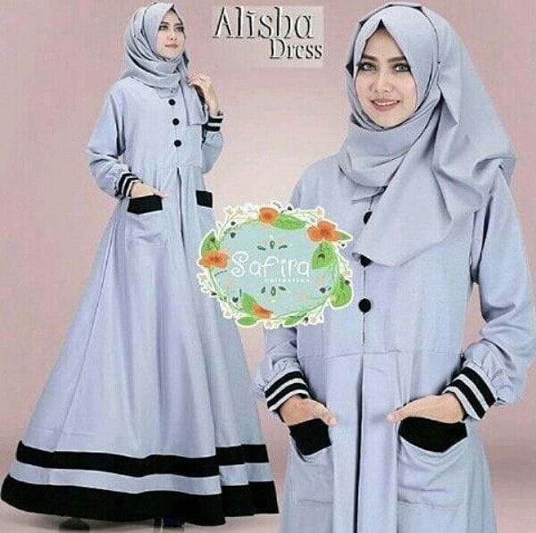 Gamis baloteli alisha dress grey maxi dress murah