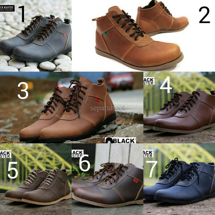 ... harga Sepatu boots pria terbaru blackmaster brodo kulit asli rubber  sole Tokopedia.com 32d393fc06
