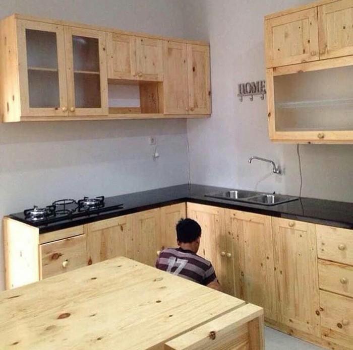 Jual Lemari Dapur Kitchen Set Full Kayu Jati Belanda Elegant Minimalis Kota Surabaya Furnideal Tokopedia