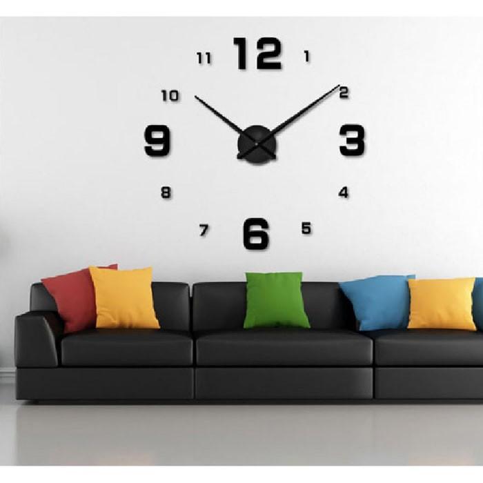 Jual Jam Dinding 3D   Giant Wall Clock - Silver Angka - Hitam ... 98e6ca4687