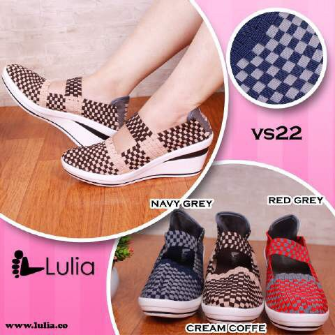 Jual Murah LULIA VS22 ORI Sepatu Wanita Anyaman Rajut Flat Wedges ... 0ecb71143b
