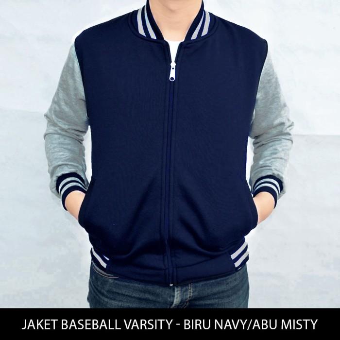 harga [big size] jaket baseball varsity polos biru navy - abu misty xxl-xxxl Tokopedia.com