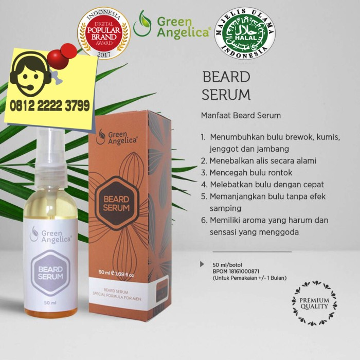 Beard Serum Green Angelica Penumbuh Jambang - Alis - Kumis - Jenggot