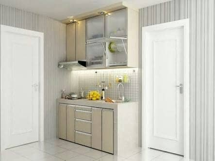 Jual Kitchen Set 1 2 Meter Hpl Glossy Top Kayu Prettylamp Tokopedia