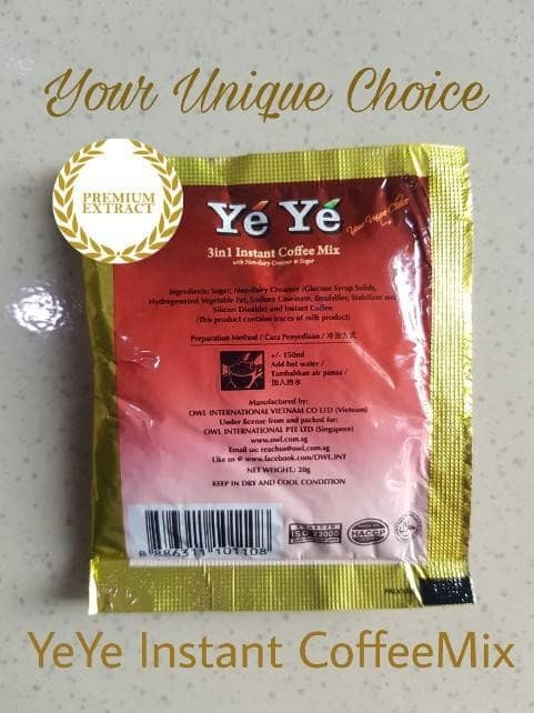 YeYe Coffee Mix 3in1 Instant Coffeemix Ye Ye Kopi Instan 3 in 1 .