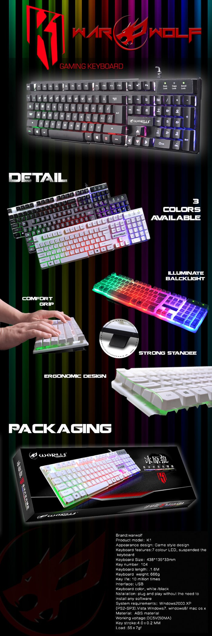 Jual Keyboard Gaming Warwolf K1 Cek Harga Di Keybiard