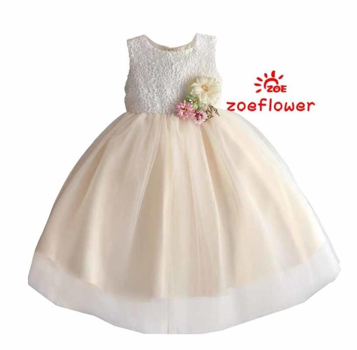 harga Dress anak perempuan : zoe flower soft cream Tokopedia.com