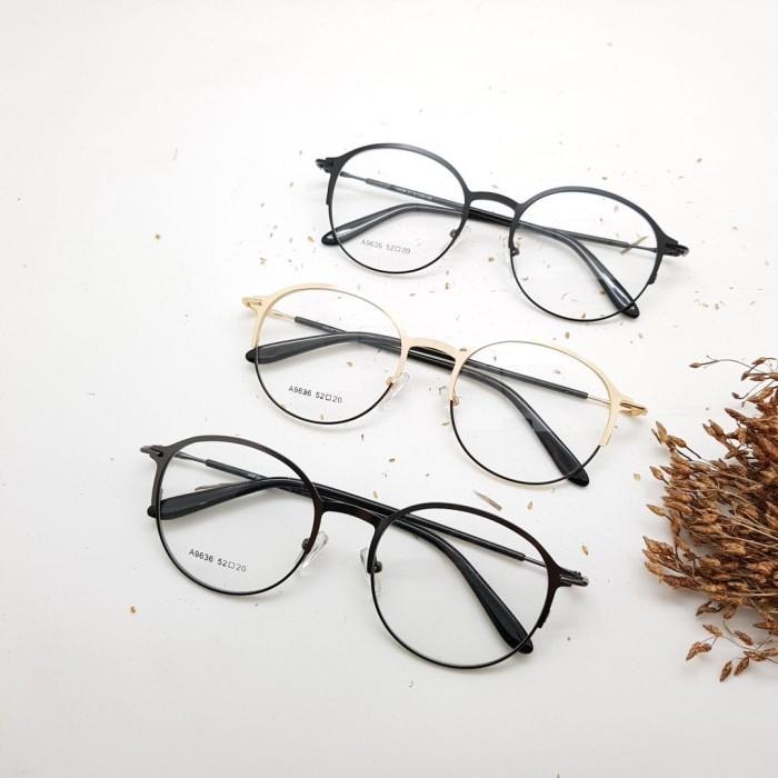 Jual Frame Kacamata Minus Fashion Besi 9636 Bulat Pria Wanita - abu ... a0e3814f19