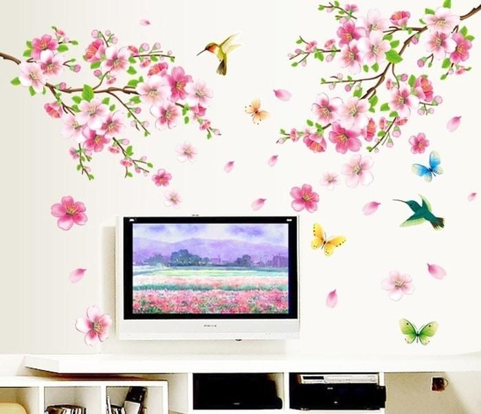 Foto Produk Set Stiker Dekorasi Dinding Motif Mekar Bunga Peach Terbaik dari Perkakas Anda