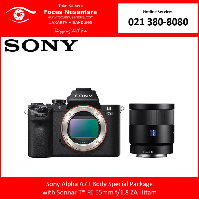 harga Sony alpha a7 ii + sony fe 55mm f/1.8 za sonnar t* (special package) Tokopedia.com