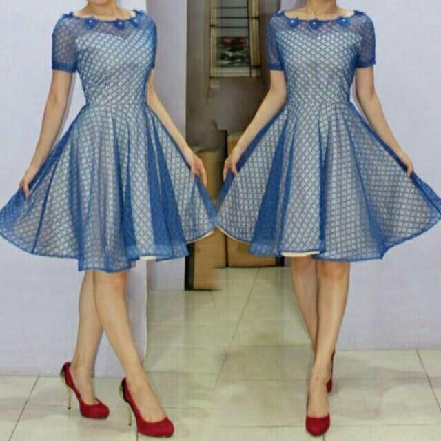 harga Dress pesta gaun party blue brukat premium clothing import Tokopedia.com