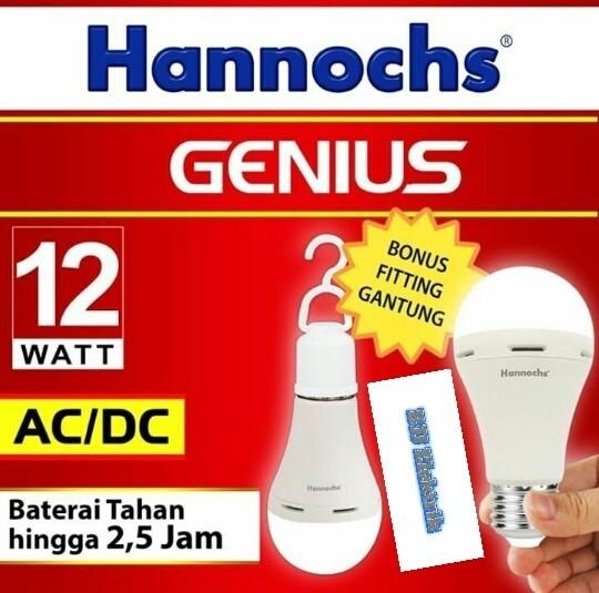 PROMO Lampu Emergency LED HANNOCHS AC/DC 12 Watt - Putih