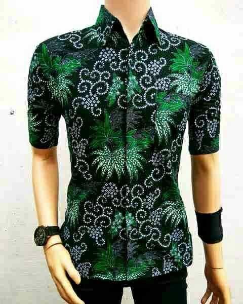 Jual Kemeja Batik Pria Batik Modern Batik Anak Muda Bunga Mekar Hijau Kota Pekalongan Batik Pondokan Colletion Tokopedia