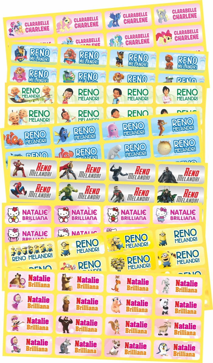 Jual Sticker Label Stiker Nama Anak Karakter Kartun Lucu Vinyl Jakarta Pusat Derrick Charlton Shop