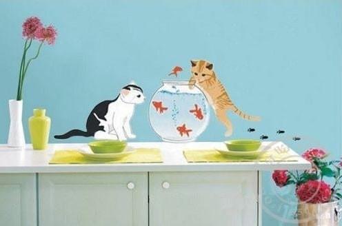 Foto Produk Set Stiker Dekorasi Dinding Motif 2-Ekor Kucing dan Ika Diskon dari Perkakas Anda