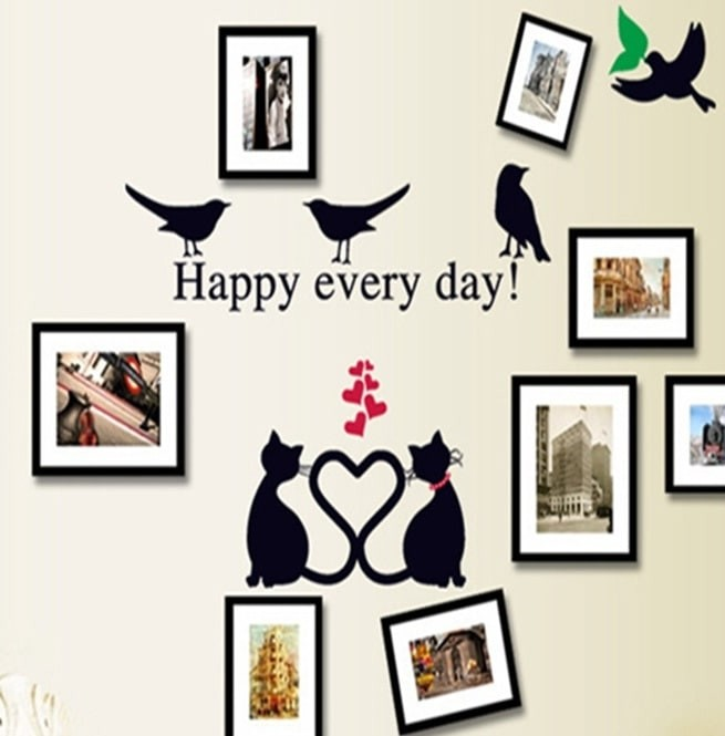 """Foto Produk Set Stiker Dekorasi Dinding Motif 2-Kucing 4-Burung """"Ha Terbaik dari Perkakas Anda"""