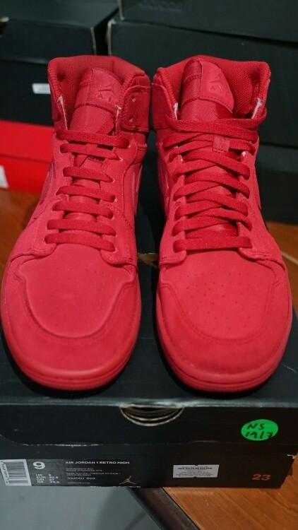 69eb52d5c12154 Air Jordan 1 Retro High - Red Suede Original Authentic 100% Sneakers -  Merah