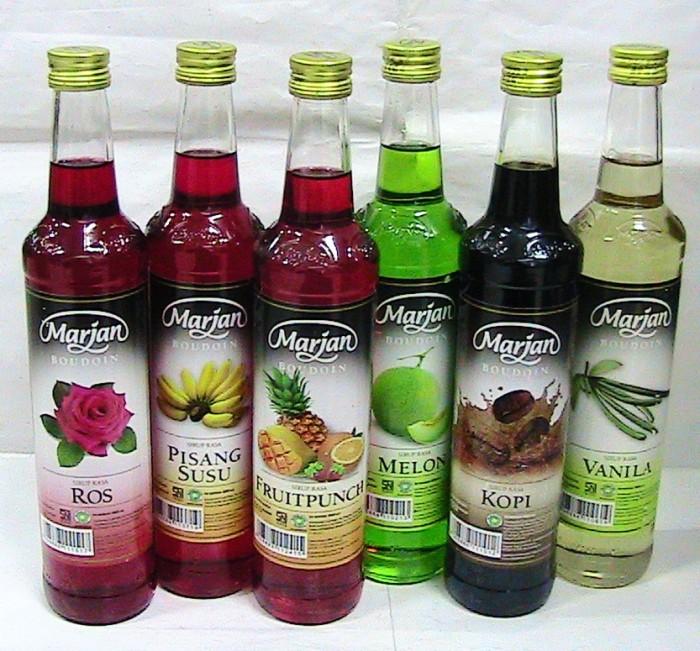 harga Marjan syrup vanilla,kopi,melon,pisang susu,rose,fruitpunch,rose 460ml Tokopedia.com
