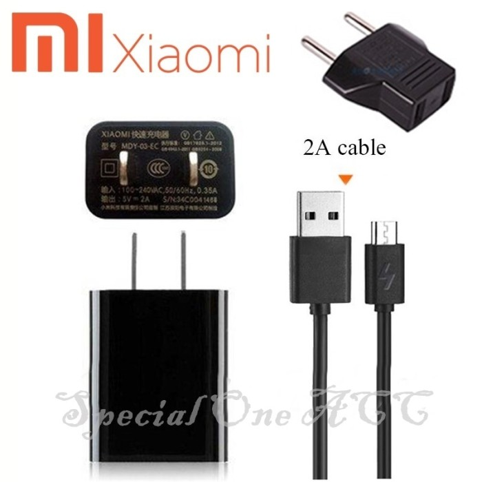 harga Charger xiaomi mdy-03-ec + kabel data micro usb 2a + steker