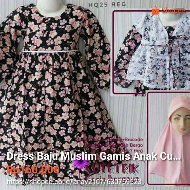 Jual Dress Baju Muslim Gamis Anak Cutetrik Lucu Murah 3 4 5 6 7 Tahun Kab Tuban Galeri Si Kecil Tokopedia