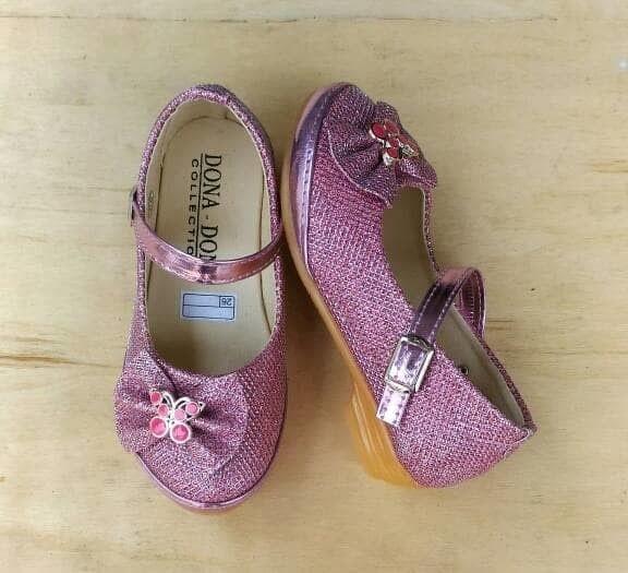Sepatu Pesta Anak Perempuan Glitter Pita Silver Pink Emas Gold Cewek .