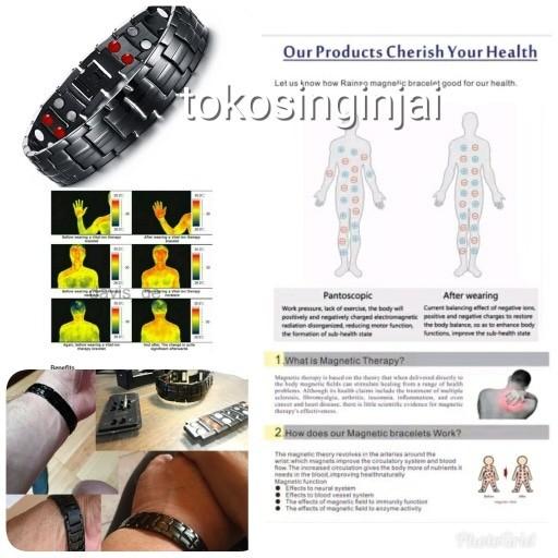 harga Gelang magnet kesehatan full black super stainless stell sertifikat Tokopedia.com