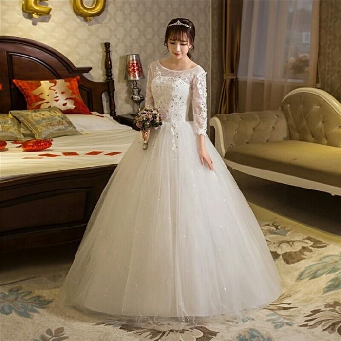 Jual Wedding Dress Gaun Pengantin Muslim Lengan Panjang Brukat Korea