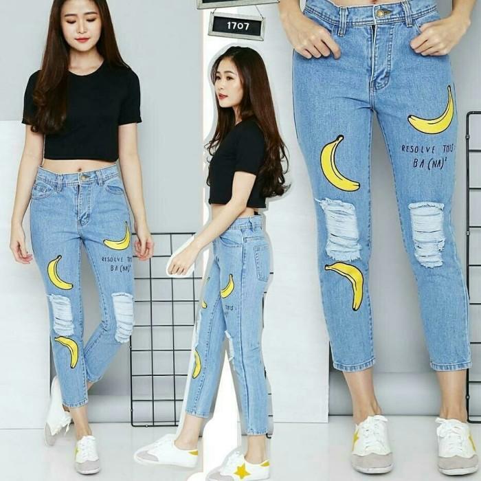 Celana Jeans Wanita Banana Boyfriend BF Sobek Ripped Sablon Murah