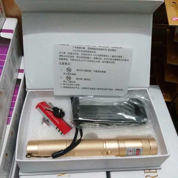 Green Laser Pointer 303 (Sinar-Nyala-Cahaya Warna Hijau +1 Batre-