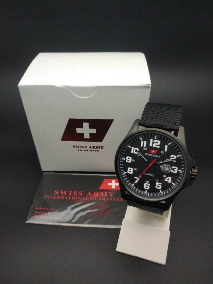 ... Silver Hitam Strap Kanvas Source · harga Swiss army analog jam tangan pria hitam putih canvas da954g original Tokopedia com