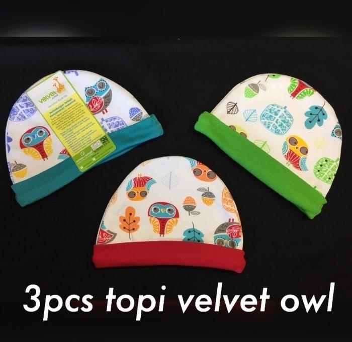 3 pcs Topi Velvet Untuk Bayi 0-12 bulan (unisex) dengan Bahan Lembut