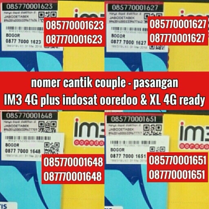 No Cantik Perdana Couple IM3 4G Ooredo Indosat / Perdana cantik IM3 4G