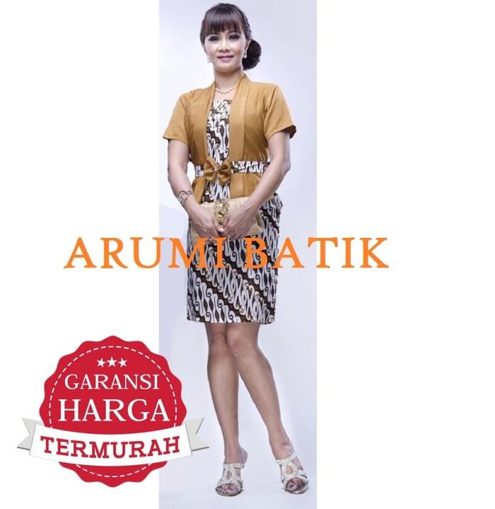 harga Dress terusan blouse atasan baju seragam wanita batik 2136 coklat Tokopedia.com