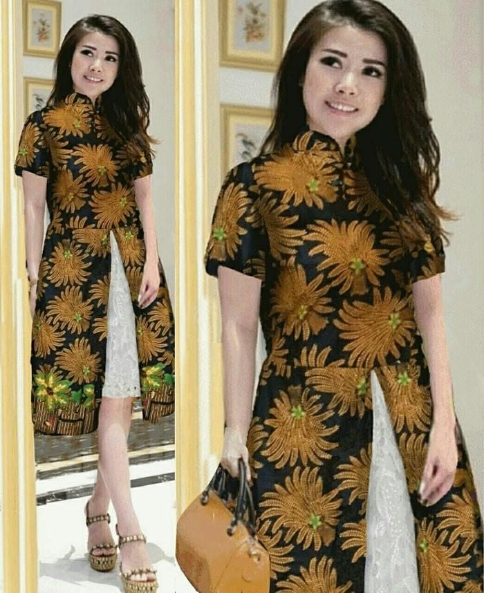 Jual BT12358 BrwonnStar Turtleneck Dress batik LONG DRESS MINI DRESS ... 2bcb61451f