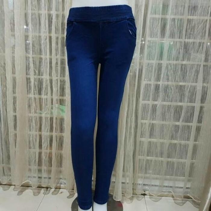 Celana panjang jeans pinggang karet biru size 27 28 29 30 31 32 33 34